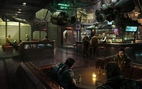 Picture space, bar, space, booze, bar, pilots, planet, game wallpapers, Star Citizen, Stanton, UEE, Star citizen, ...
