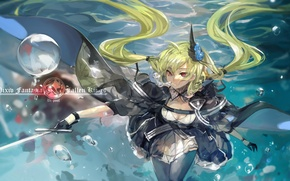 Picture girl, bubbles, weapons, sword, anime, art, under water, pixiv fantasia, saberiii, army chief