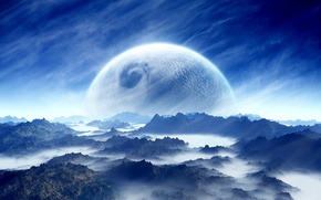 Picture white, sky, landscape, blue, cloud, mountain, planet, Sci Fi