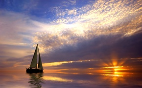 Picture sea, the sky, clouds, sunset, the ocean, sailboat, Boat