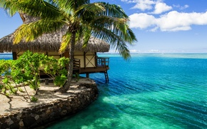Picture the sky, water, clouds, nature, Palma, the ocean, house, The Maldives, Bungalow, Maldives