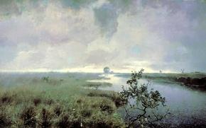 Picture picture, clouds, canvas, nature, painting, rain, Endogurov, water, weather, Bush, clouds, the sky, grass, landscape, ...