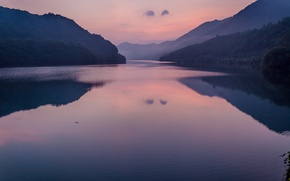 Picture forest, mountains, lake, reflection, dawn