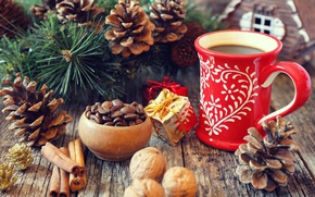 Picture branches, holiday, Board, new year, coffee, Christmas, Cup, drink, cinnamon, bumps, pine, grain, spices