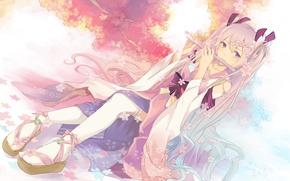 Picture girl, tree, petals, Sakura, art, kimono, vocaloid, hatsune miku, zerox