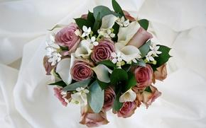 Picture roses, bouquet, composition, Calla lilies