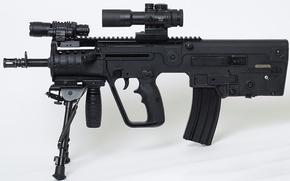 Picture gun, weapon, background, rifle, assault rifle, machine gun, telescope, Tavor, TAR-21, telescopic lenses, battery, Israel …