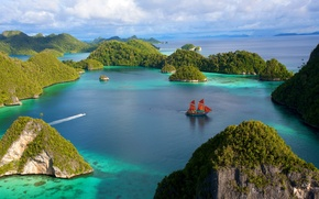 Picture the sky, water, Islands, clouds, stones, rocks, vegetation, ship, sailboat, Indonesia, boat, Laguna
