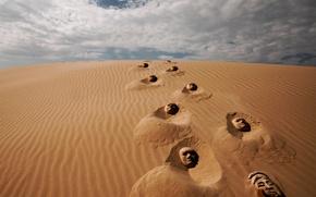 Picture sand, traces, fantasy, desert, mask