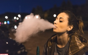 Picture smoke, night, face, perfect, look, body, gilr, hookan