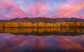 Picture autumn, the sky, reflection, lake, river, paint