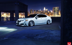Picture Car, White, Tuning, Acura, Vossen, Wheels, TLX, Nigth
