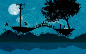 Wallpaper bridge, people, tree, Vector