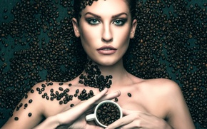 Picture girl, Cup, unground coffee, coffee, grain
