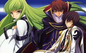 Picture helmet, cloak, green hair, three, code geass, code geass, c.c., suzaku kururugi, lelouche lamperouge, high …