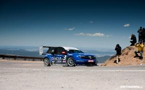 Picture machine, auto, track, turn, race, mountain range, blue sky