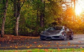 Picture road, autumn, ferrari f430