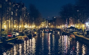 Picture river, boat, Amsterdam, river, Amsterdam, boat, night view, night view