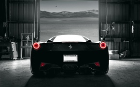 Picture car, dark, Ferrari, 458, Italia