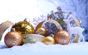 Picture winter, balls, patterns, toys, deer, sequins, New Year, Christmas, the scenery, Christmas, gold, holidays, New …