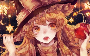 Picture apple, touhou, stars, witch, marisa