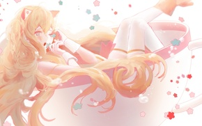 Picture girl, flowers, anime, art, Cup, vocaloid, ears, seeu