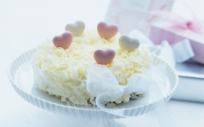 Wallpaper food, tape, hearts, cake, cake, dessert, cake, sweet, treat
