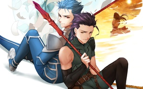 Picture art, guys, Lancer, spears, Fate stay night, Fate stay night