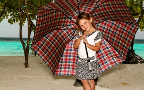 Picture beach, umbrella, girl, Manfred Sket, rainy day in paradise