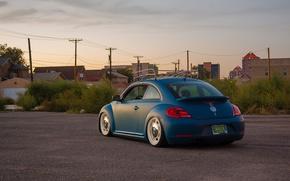 Picture the sky, street, Volkswagen, back, power lines, New Beetle