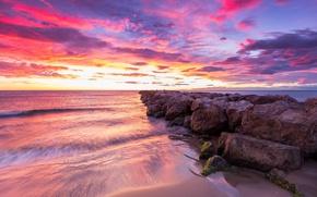 Picture sea, clouds, glow, Spain, Valencia
