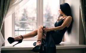 Wallpaper window, neckline, legs, the beauty, Anton Pechkurov
