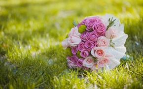 Picture grass, flowers, roses, bouquet, wedding, flowers, bouquet, roses, wedding