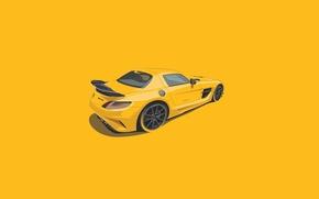 Picture Mercedes-Benz, SLS, Yellow, Digital, Illustration, Minimalistic