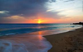 Picture sea, the sun, Andalusian, dawn, beach