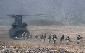 Picture weapons, soldiers, landing
