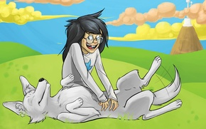 Picture mood, the game, dog, anime, art, friendship, guy