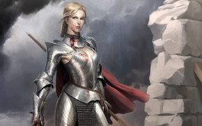 Wallpaper girl, metal, blood, armor, warrior, art, cloak, armor