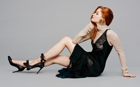 Picture makeup, dress, actress, hairstyle, shoes, legs, redhead, on the floor, photoshoot, posing, in black, British, ...