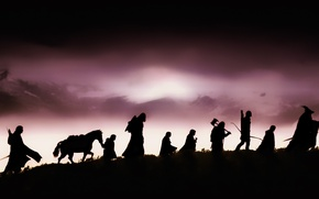 Wallpaper The Lord of the rings, the fellowship of the ring, silhouettes