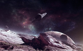 Picture space, stars, surface, rocks, planet, ring, art, QAuZ