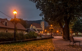 Wallpaper Croatia, home, trees, Zagreb, leaves, lights, benches, the evening, stream, lights, Samobor, autumn