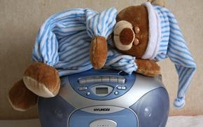 Picture toy, bear, bear, sleeping, pajamas, tape