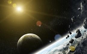 Picture space, stones, star, planet, art, meteorites