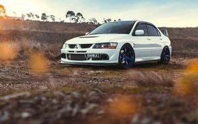 Picture Mitsubishi, Lancer, Car, Front, Sun, Sunset, White, Evolution 9, Works
