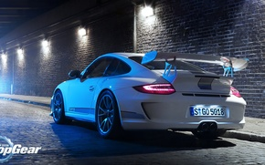 Picture light, Porsche, tuning, 911, road, white, Top Gear
