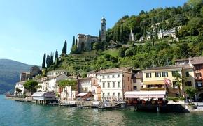 Wallpaper trees, lake, building, Marina, home, Switzerland, Switzerland