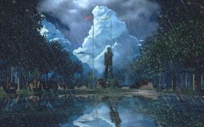 Picture rain, monument, camp, everlasting summer, endless summer, iichan-eroge