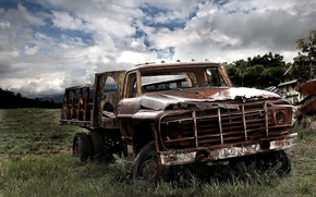 Wallpaper sadness, old age, trucks, machine