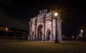Wallpaper Paris, night, lights, Triumfalnaya arch, France